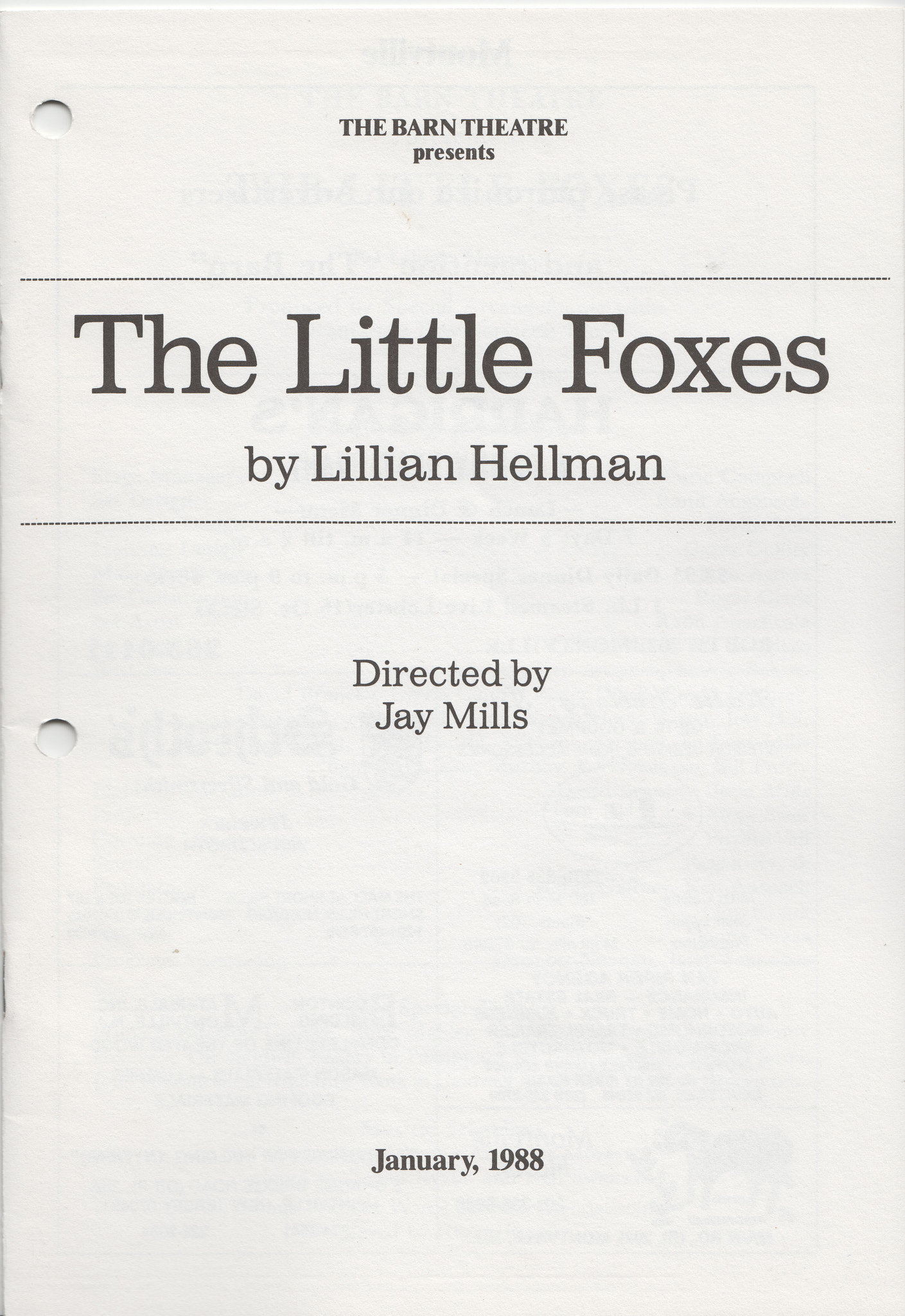 Program Cover for The Little Foxes