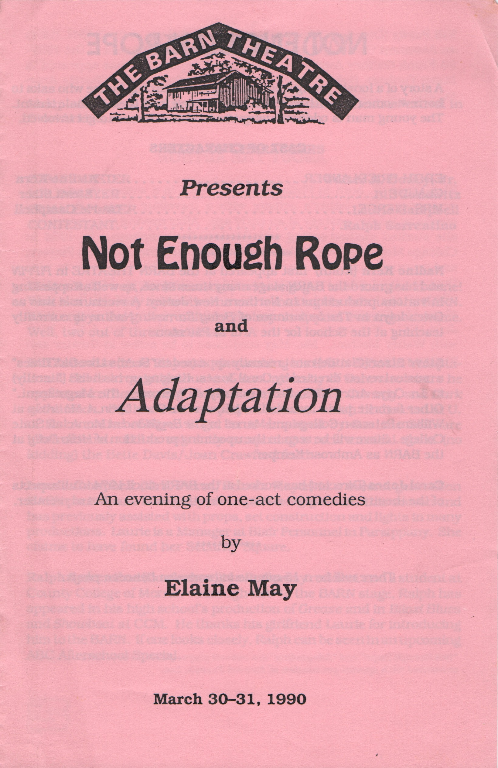 Program Cover for Not Enough Rope / Adaptation