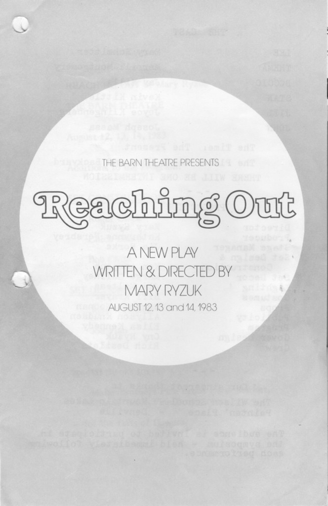 Program Cover for Reaching Out