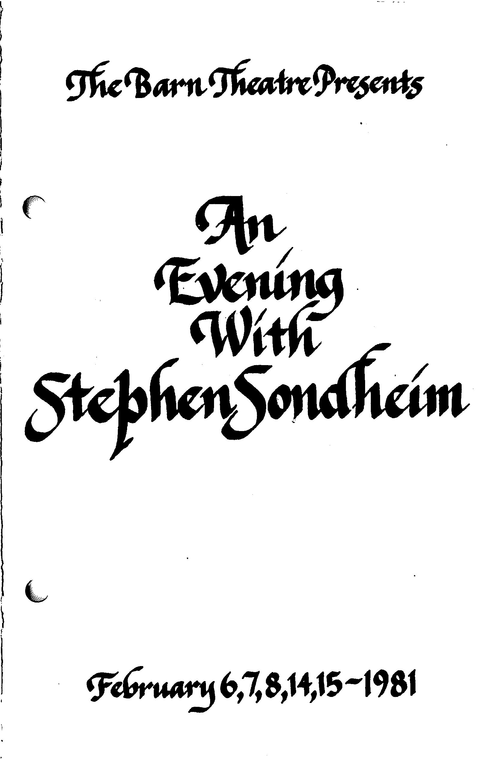 Program Cover for An Evening With Stephen Sondheim