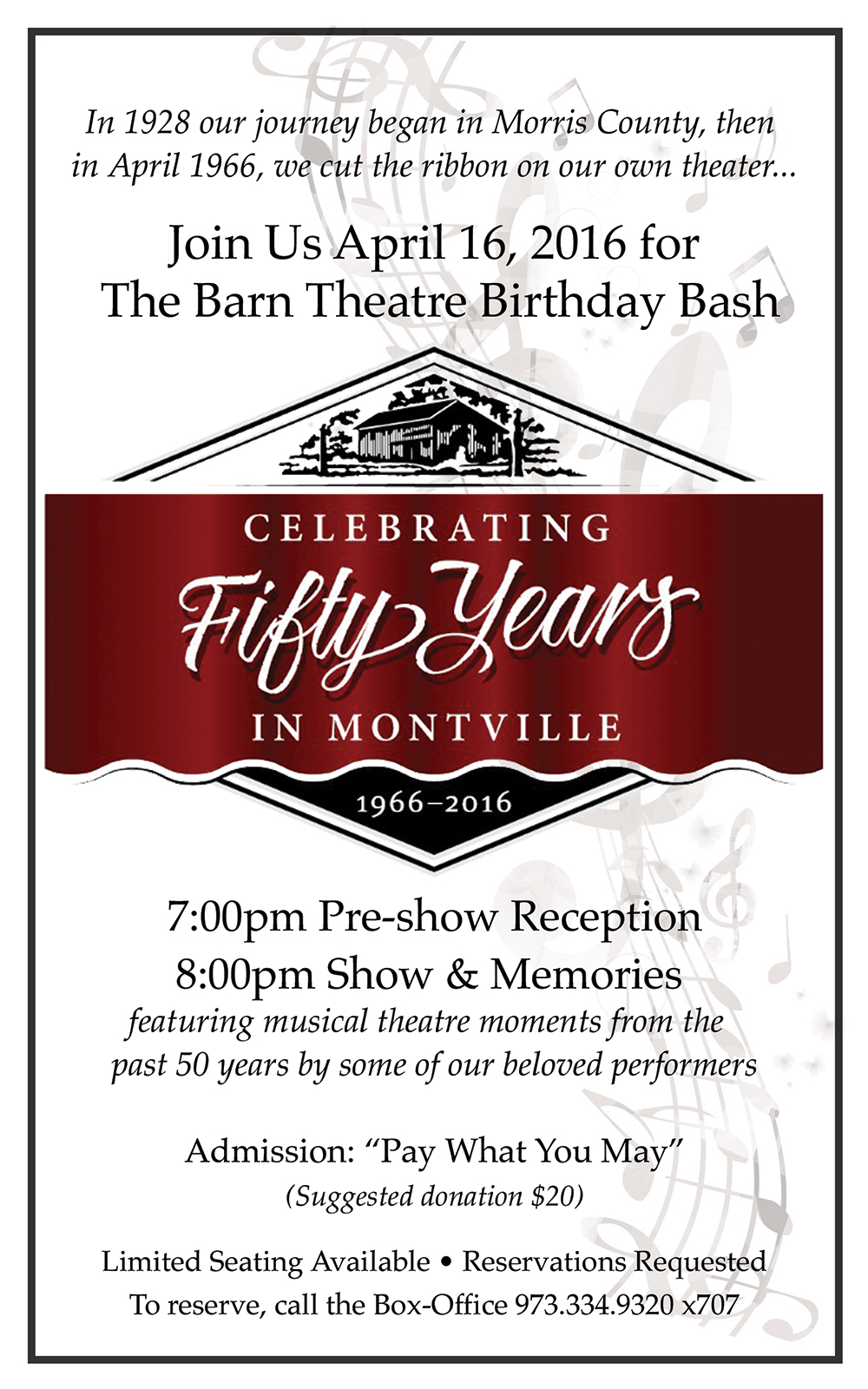 Program Cover for Barn's 50 Birthday Bash