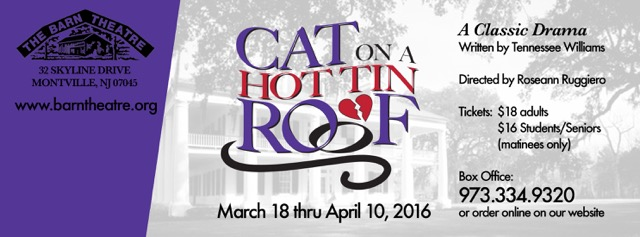 Cat on a Hot Tin Roof Runs March 18 - April 9