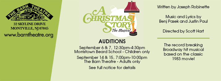Auditions for A Christmas Story Sept 6, 7, 14 and 15