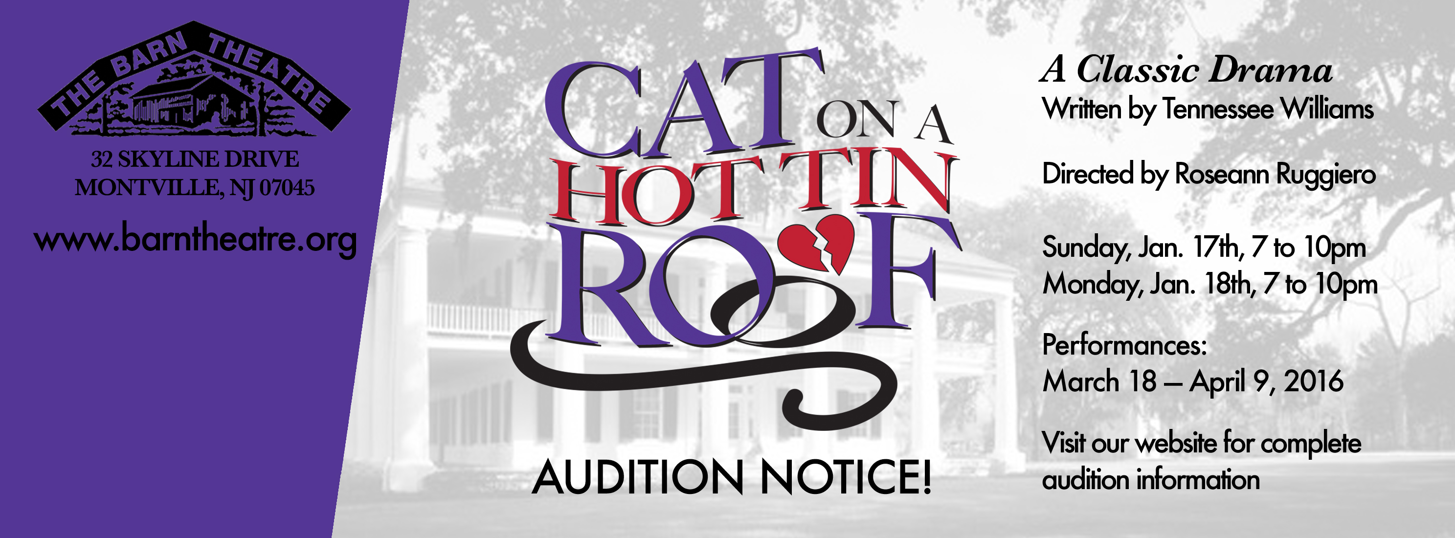 Cat on a Hot Tin Roof Auditions January 17 and 18, 2016