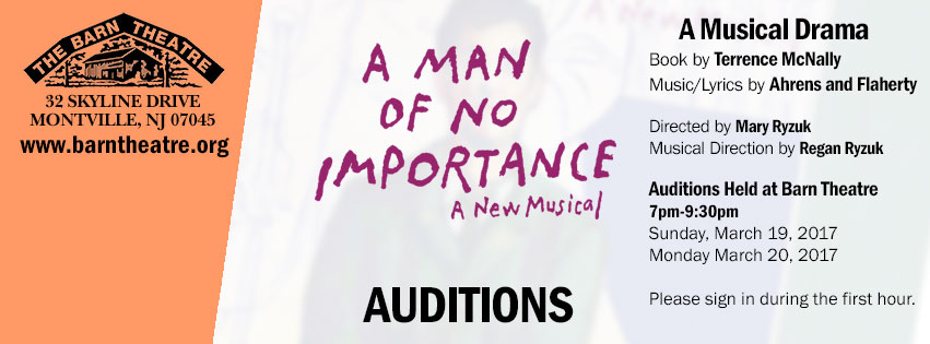 A Man of No Importance Auditions March 5 and 6, 2017