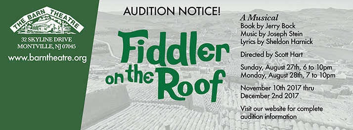Fiddler on the Roof Auditions, August 27 and 28, 2017