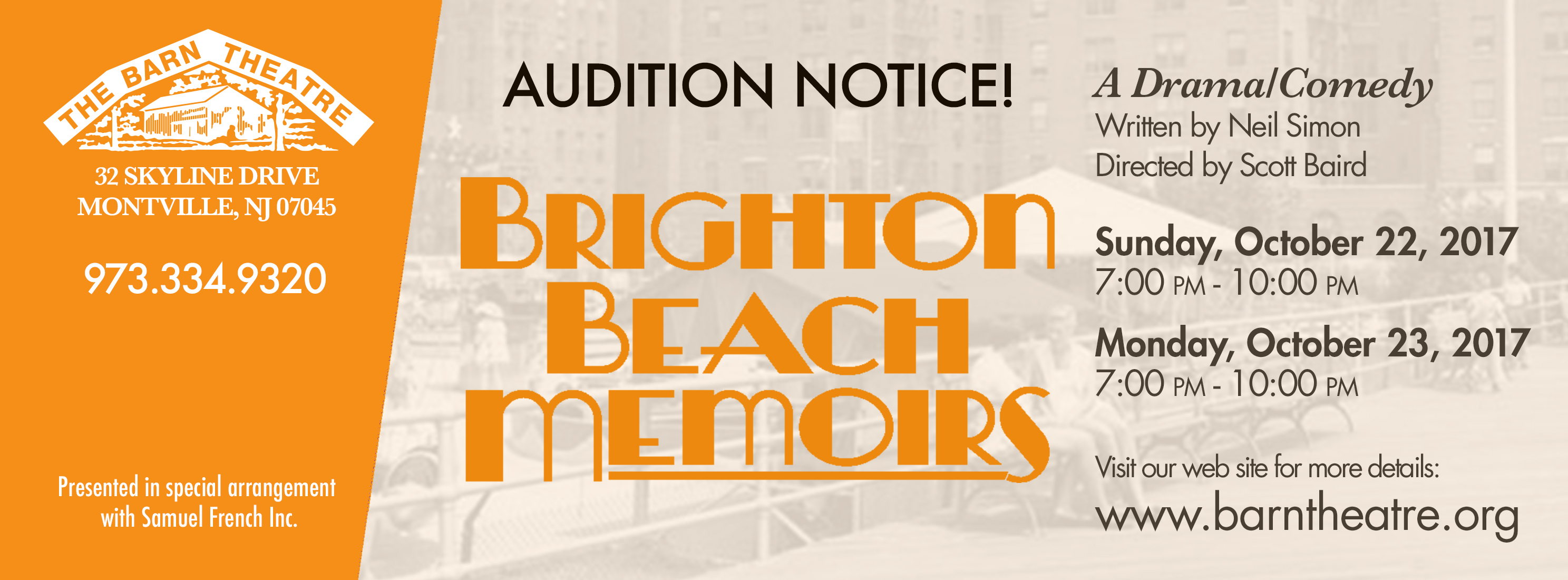 Brighton Beach Memoirs Auditions